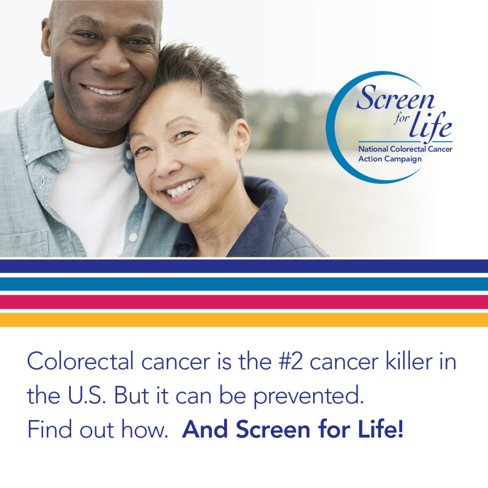 Two older adults smile together after being screened for colorectal cancer