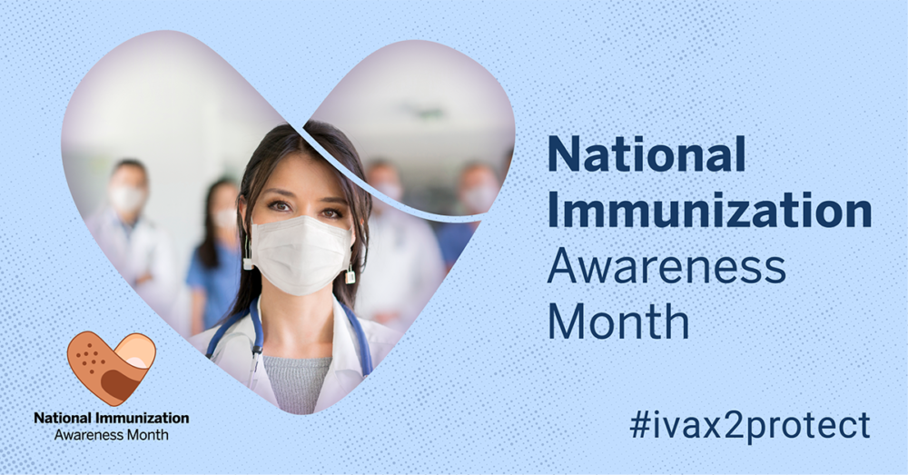 Portrait of a female NP wearing a mask and a white coat in front of a group of providers with National Immunization Month and #ivax2protect