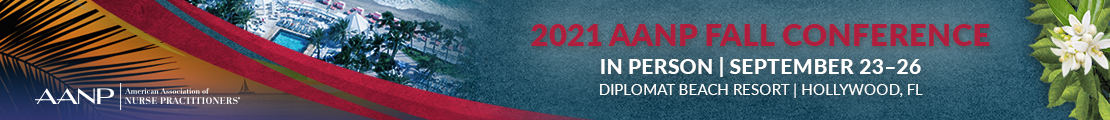 2021 AANP Fall Conference logo with palm trees and a red and orange banner