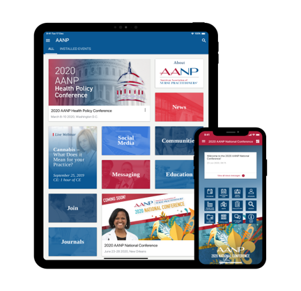 A view of the AANP mobile app, which includes colorful tiles and a special conference section