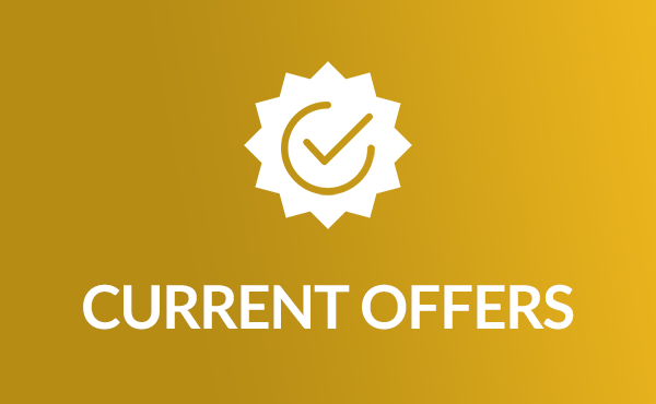 Icon of Current Offers, with a check mark in a seal of approval