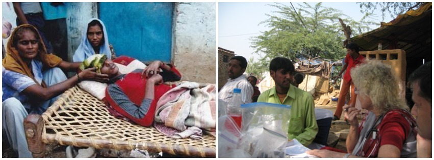 Two photos show a male patient suffering from dengue fever and the same patient recovered after receiving health care