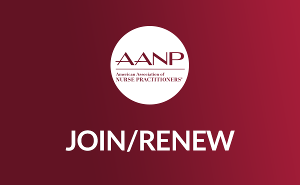 Icon of Join/Renew, with the AANP logo in a white circle on red background