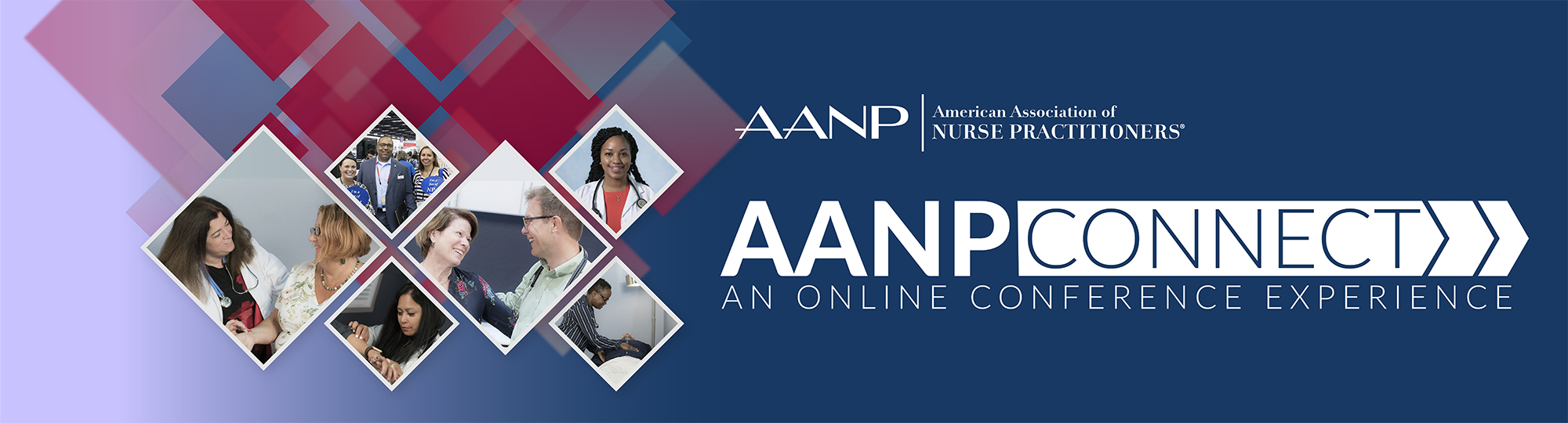 A collage of images showing NPs meeting with patients and attending conference against a red and blue background and the AANPconnect logo