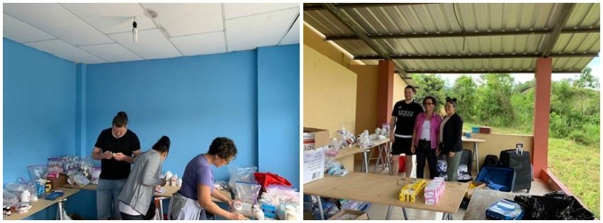 A collage of two photos shows health care teams staffing a rural health clinic in Ecuador