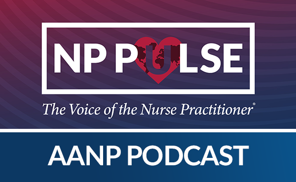 """Icon of the AANP Podcast, logo of NP Pulse with the """"U"""" comprised of the world overlaid on top of a heart"""
