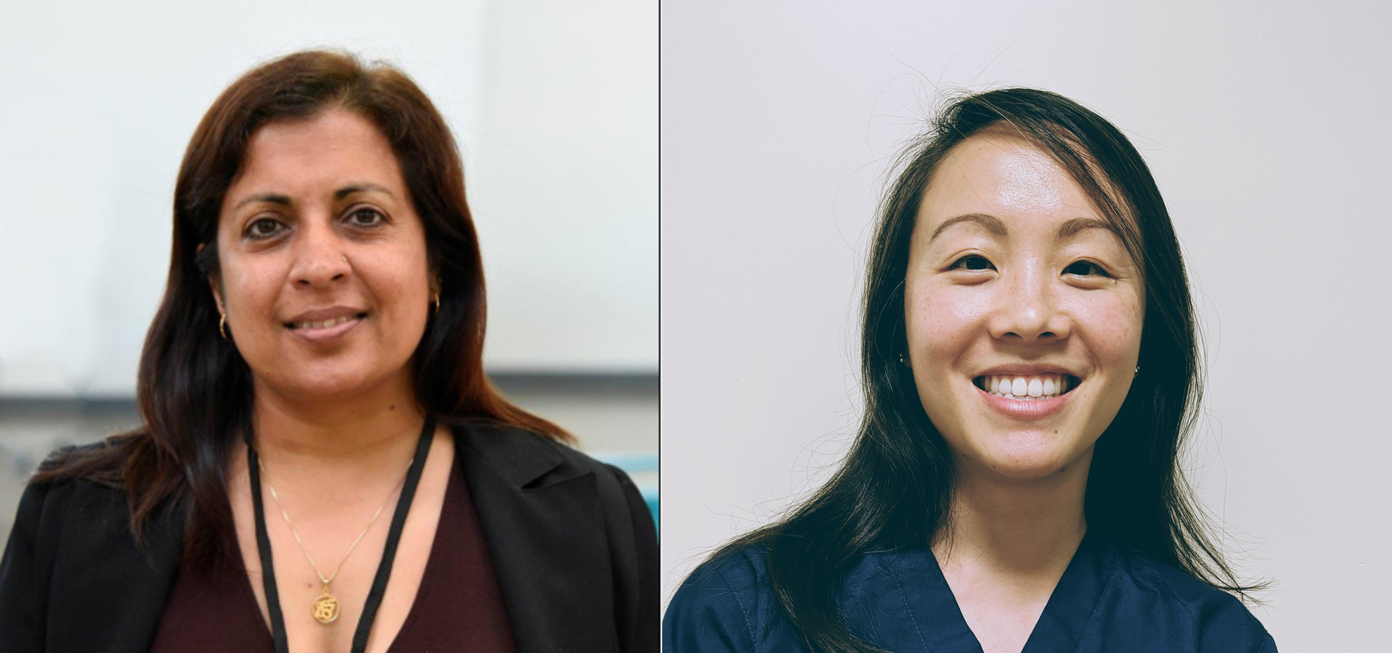 Headshots of Shelly de Peralta and Yichun Michelle Fang