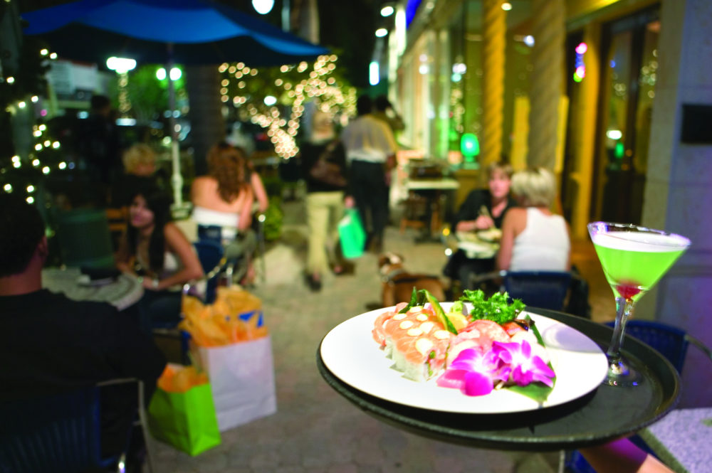 A night scene featuring fine dining, fun libations after a day in downtown Hollywood, Florida
