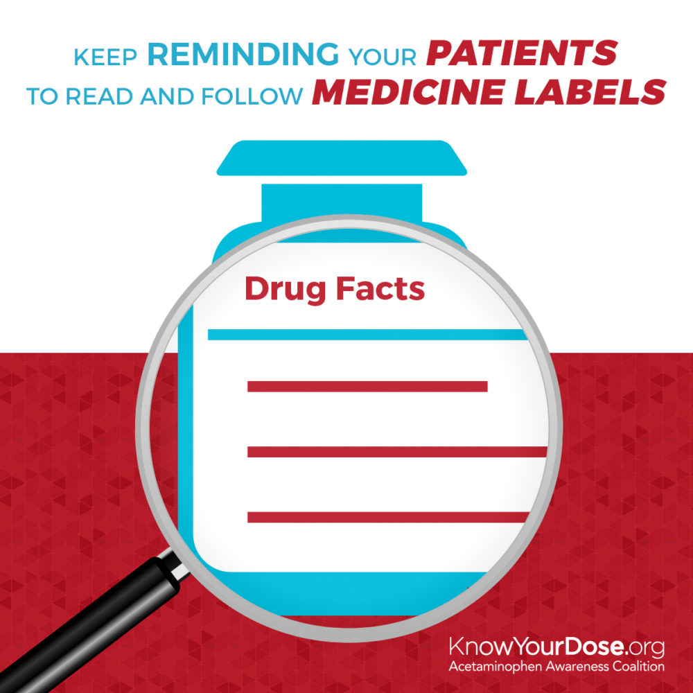 Magnifying glass over a bottle of medication helping to see the drug facts