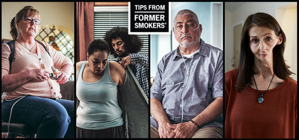 A collage of four former smokers show the effects of tobacco