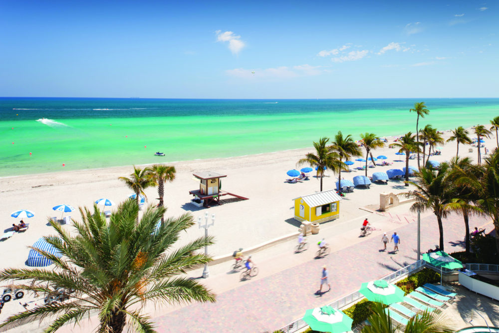 Sunny day in Hollywood, Florida, with palm trees on the beach and visitors on the Broadwalk