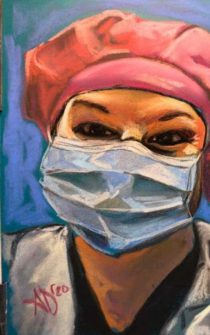 Painting of an NP wearing a mask and white lab coat